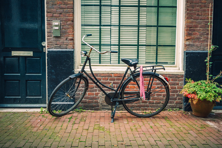 netherlands: Retro style bicycle in Amsterdam, Netherlands Stock Photo