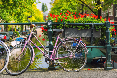 Retro style bicycle in Amsterdam, Netherlands Stock fotó
