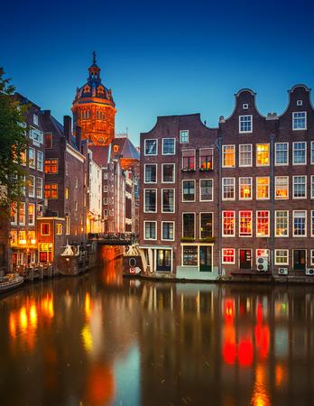 nightview: Nightview of Nicolaaskerk in Amsterdam