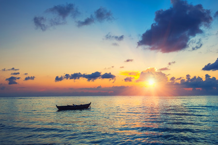 sunrise ocean: Colorful sunrise over ocean on Maldives