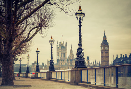 embankment: Big Ben and Houses of parliament in London, UK