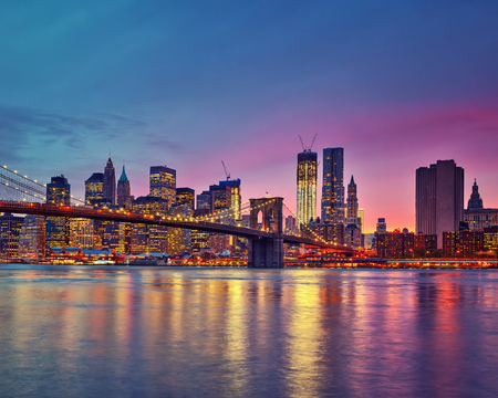 manhattan bridge: Manhattan at dusk, New York City Stock Photo