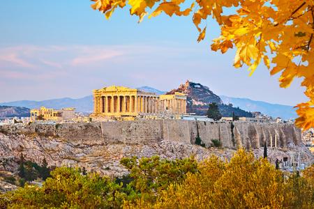 Uitzicht op de Akropolis bij zonsondergang, Athene, Griekenland