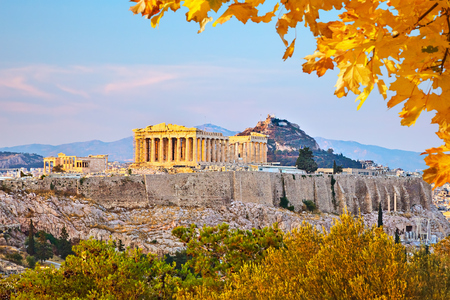 classical greece: View on Acropolis at sunset, Athens, Greece Stock Photo