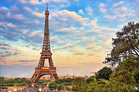 in europe: Eiffel Tower at summer sunny evening, Paris