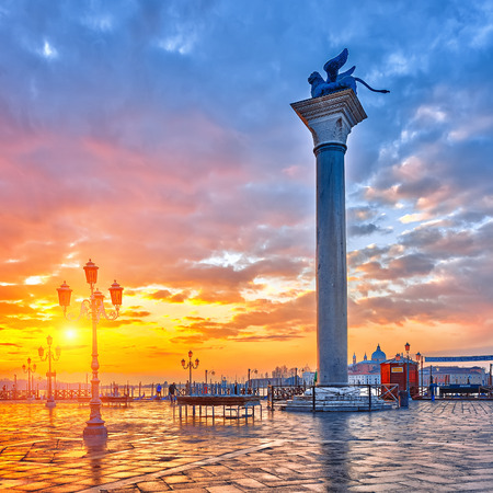 san marco: Piazza San Marco at sunrise, Vinice, Italy Stock Photo