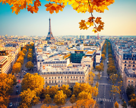 autumn in the city: View on Eiffel tower at sunset, Paris, France