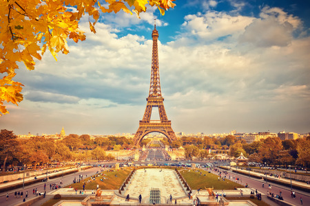 Eiffel Tower at autumn sunny evening, Paris Stock Photo