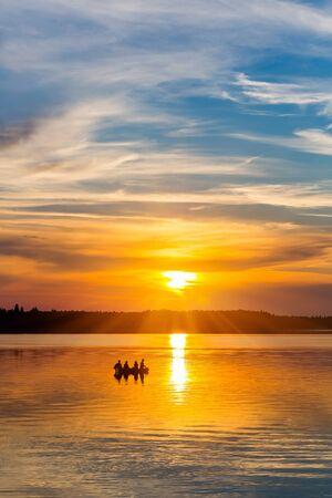 sunset lake: Beautiful tranquil sunset on a lake