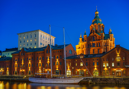 nightview: Nightview of Uspenski Cathedral in Helsinki, Finland