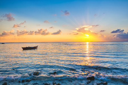 colorful sunrise: Colorful sunrise over ocean on Maldives
