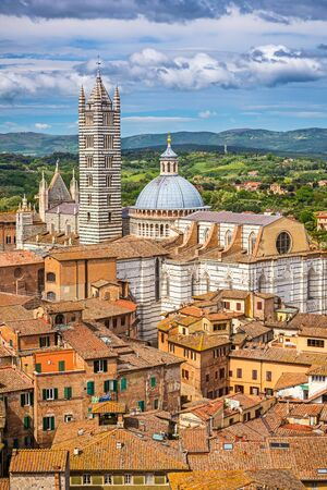 sienna: Aerial view on Siena Cathedral, Italy Stock Photo