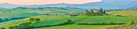 agriturismo: Beautiful Tuscany landscape at early morning , Italy