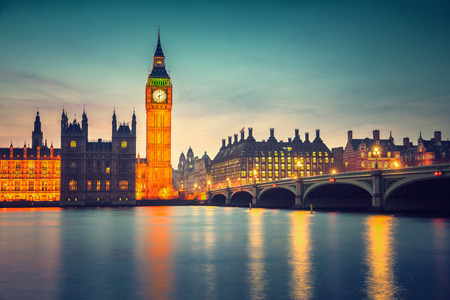 city of westminster: Big Ben and westminster bridge at dusk in London