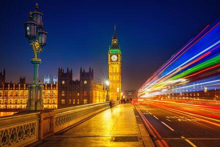 city lights: Big Ben and Westminster bridge at night Stock Photo