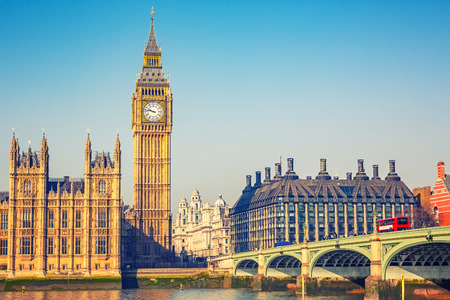 city of london: Big Ben and westminster bridge in London
