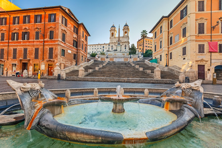 spanish steps: Spanish Steps at morning in Rome, Italy