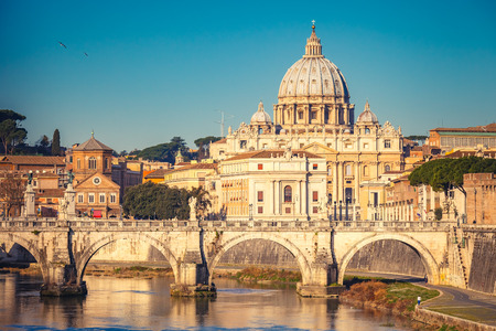 View at Tiber and St. Peters cathedral in Rome Stock Photo