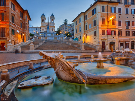 rome: Spanish Steps at dusk in Rome, Italy Stock Photo