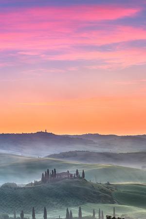 agriturismo: Beautiful Tuscany landscape at sunrise, Italy