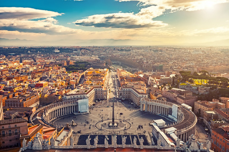 Saint Peters Square in Vatican and aerial view of Rome Редакционное