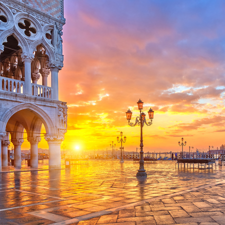 piazza san marco: Piazza San Marco at sunrise, Vinice, Italy Stock Photo