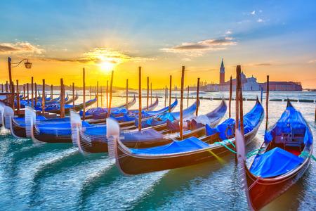quiet: Gondolas in Venice at sunrise