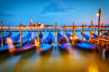 quiet: Gondolas in Venice at night