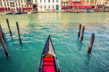 grand canal: Gondola on Grand canal in Venice, Italy Stock Photo
