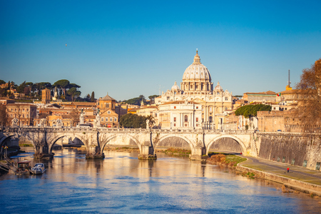 pietro: View at Tiber and St. Peters cathedral in Rome Stock Photo