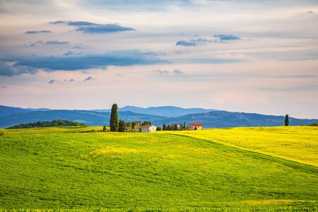 spring landscape: Beautiful tuscany landscape at spring , Italy Stock Photo