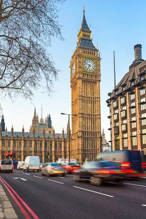 british touring car: Traffic near Big Ben in London, UK