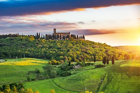 Beautiful tuscany landscape at sunset , Italy Stock Photo
