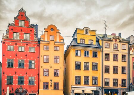 stan: Buildings on Big Square (Stortorget) in the Old Town (Gamla Stan) of Stockholm, Sweden