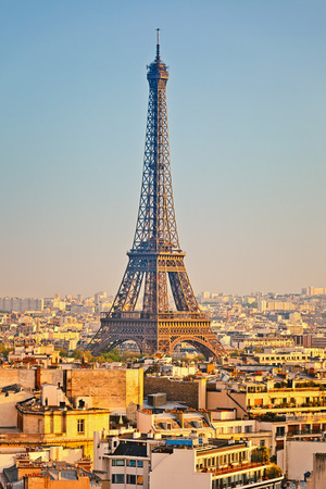 urban landscapes: View on Eiffel tower at sunset, Paris, France