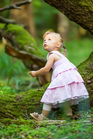 1 2 years: Little girl in the dark green forest Stock Photo