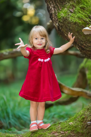 cute little girl smiling: Little girl in the wild green forest Stock Photo
