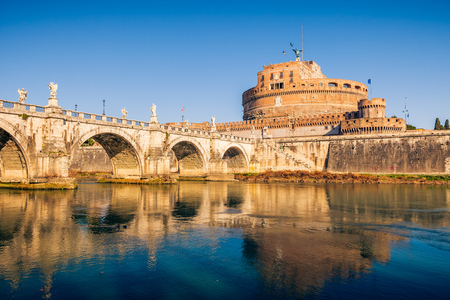 angelo: Saint Angel Castle and bridge over the Tiber river in Rome Editorial