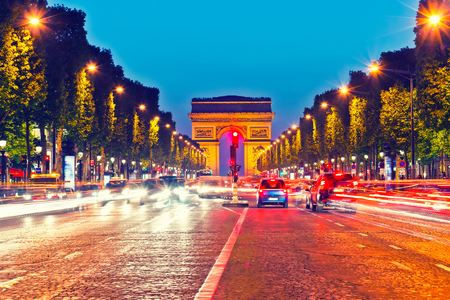 elysees: Arch of Triumph and Champs Elysees at dusk, Paris