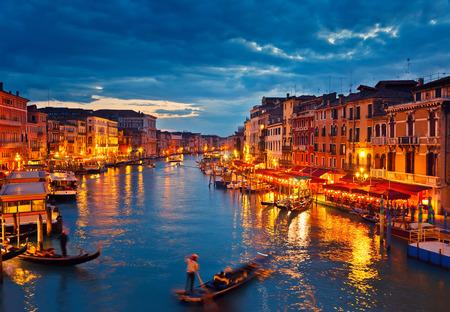 beautiful sky: View on Grand Canal from Rialto bridge at dusk, Venice, Italy
