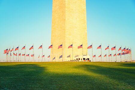 monument: Washington Monument in Washington DC illuminated by morning sun Stock Photo