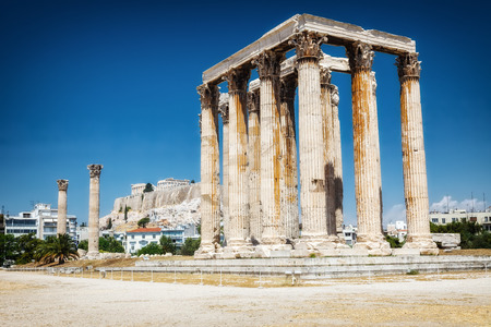 Ancient Temple of Zeus Olympeion, Athens, Greece Stock Photo