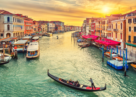 iconic: Gondola near Rialto Bridge in Venice, Italy