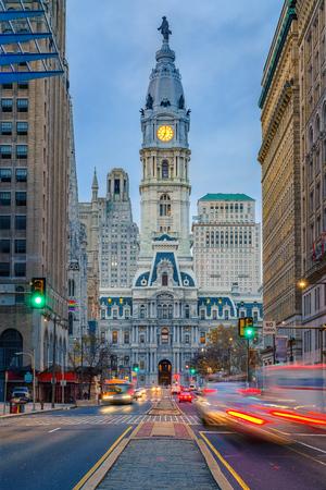 Philadelphias historic City Hall at dusk