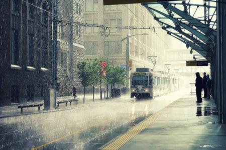 calgary: Rain in Calgary city, Canada Stock Photo