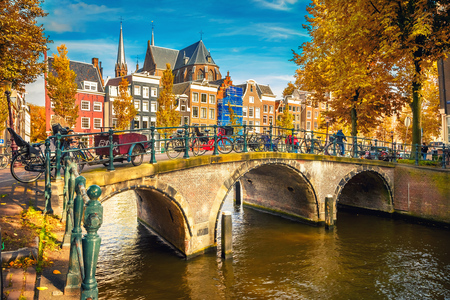 Bridges over canals in Amsterdam at autumn Stock Photo