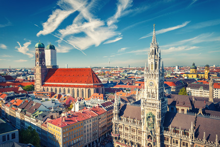 frauenkirche: Aerial view of Munchen: New Town Hall and Frauenkirche