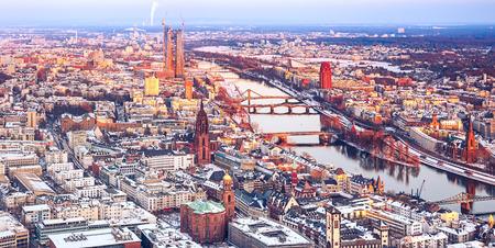 hessen: Aerial view over Frankfurt am Main at winter Stock Photo