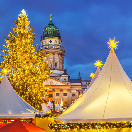 Christmas market and French church in Berlin, Germany