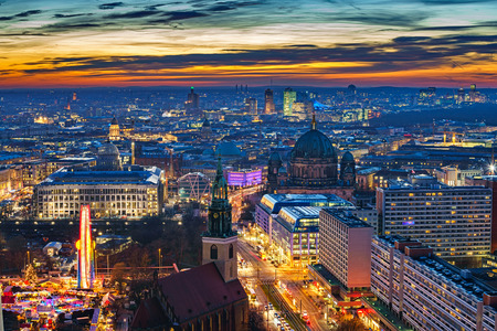 Aerial view on downtown of Berlin at night, Germany 스톡 콘텐츠